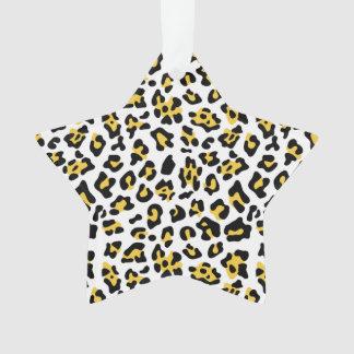 Yellow Black Leopard Animal Print Pattern Ornament
