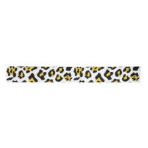 Yellow Black Leopard Animal Print Pattern Satin Ribbon