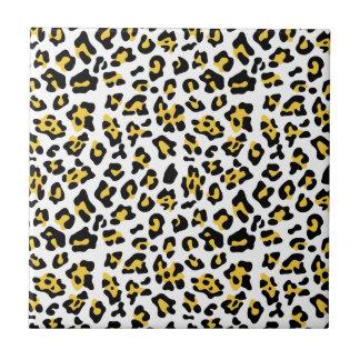 Yellow Black Leopard Animal Print Pattern Ceramic Tiles