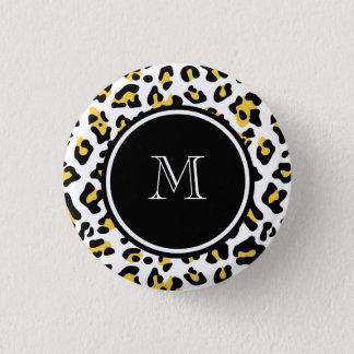 Yellow Black Leopard Animal Print with Monogram Button