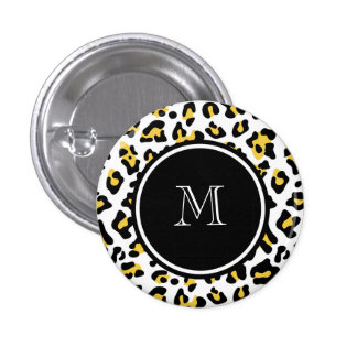 Yellow Black Leopard Animal Print with Monogram Button