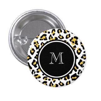 Yellow Black Leopard Animal Print with Monogram 1 Inch Round Button