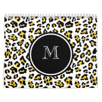 Yellow Black Leopard Animal Print with Monogram Calendar
