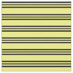 [ Thumbnail: Yellow & Black Lines Fabric ]