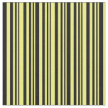 [ Thumbnail: Yellow & Black Lines Pattern Fabric ]