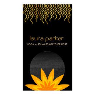 Yellow Black Lotus Flower Logo Yoga Healing Health Business Card