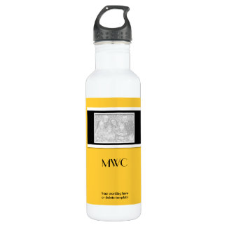 """Yellow black """"make your own"""" custom template 24oz water bottle"""