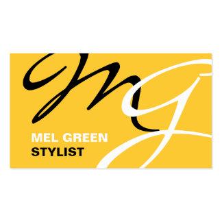 Yellow Black Modern Monogram Business Card Template