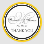 Yellow Black Monogram M Wedding Thank You Classic Round Sticker