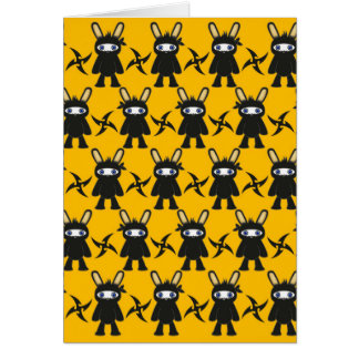 Yellow Black Ninja Bunny Pattern Card