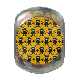 Yellow Black Ninja Bunny Pattern Jelly Belly Candy Jars