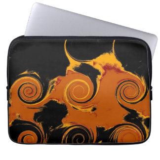 Yellow, Black, Orange Fire Swirl Fine Art Laptop Sleeves