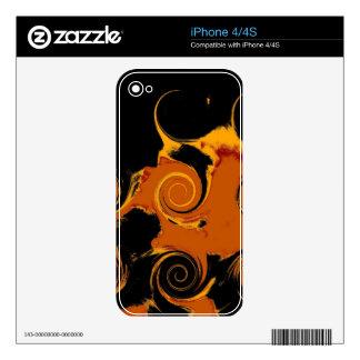 Yellow, Black, Orange Fire Swirl Fine Art Skin For The iPhone 4
