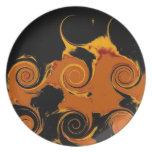 Yellow, Black, Orange Fire Swirl Retro Fine Art Dinner Plate