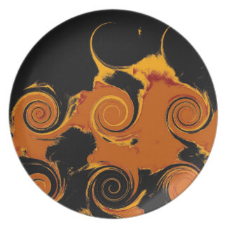 Yellow, Black, Orange Fire Swirl Retro Fine Art Dinner Plate