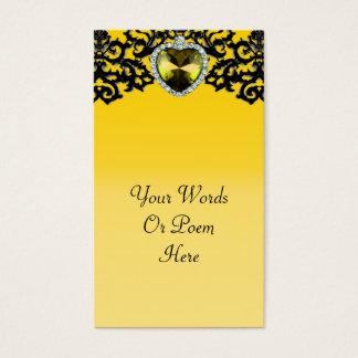 Yellow & Black Ornate Heart Pendant Wedding Business Card