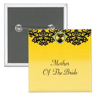 Yellow & Black Ornate Heart Pendant Wedding 2 Inch Square Button