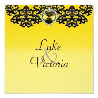 Yellow & Black Ornate Heart Pendant Wedding Card