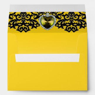 Yellow & Black Ornate Heart Pendant Wedding Envelope