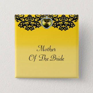 Yellow & Black Ornate Heart Pendant Wedding Pinback Button