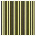 [ Thumbnail: Yellow & Black Pattern of Stripes Fabric ]