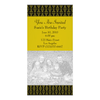 yellow black pattern party photo card