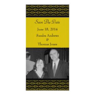 Yellow Black Pattern Wedding Card