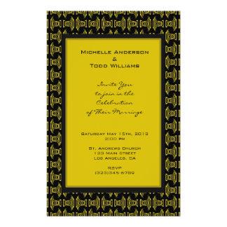 Yellow Black Pattern Wedding Flyer