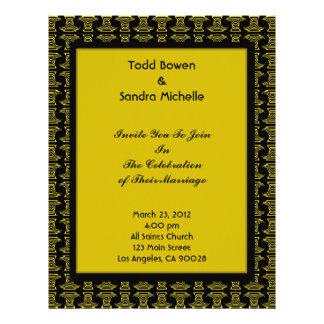 Yellow Black Pattern Wedding Letterhead