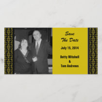 Yellow Black Pattern Wedding Save The Date