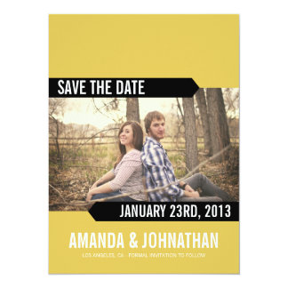 Yellow & Black Photo Save The Date Announcements