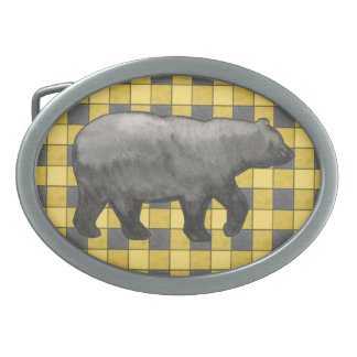 Yellow Black Plaid Check Belt Buckle with Bear