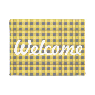 Yellow Black Plaid Check Welcome Mat