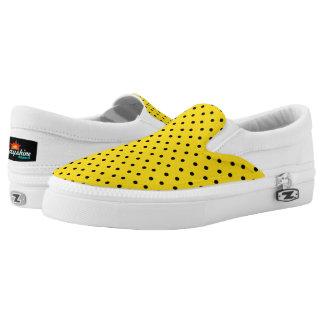 Yellow & Black Polka Dot Slip Ons Printed Shoes