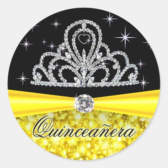 Yellow Black Princess Tiara Quinceanera Bling Classic Round Sticker