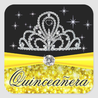 Yellow Black Princess Tiara Quinceanera Bling Square Sticker