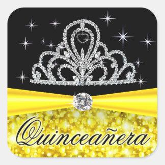Yellow Black Princess Tiara Quinceanera Bling Stickers