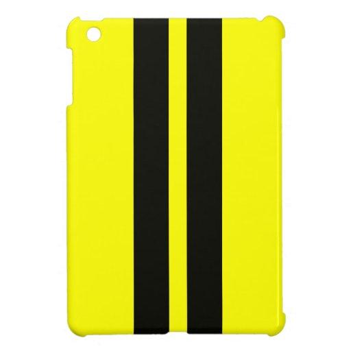 Yellow Black Racing Stripes Ipad Mini Case