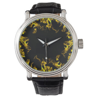 yellow black real fire flame vintage style watch