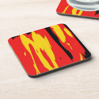 Yellow Black Red Modern retro abstract art Beverage Coaster