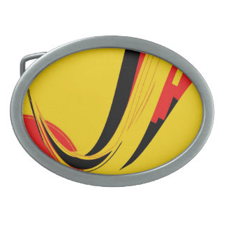 Yellow Black Red Retro Painting Abstract Art Belt Buckle