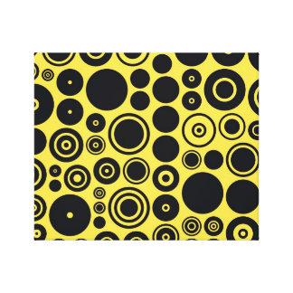 Yellow, Black Retro Circles 2 Wrapped Canvas