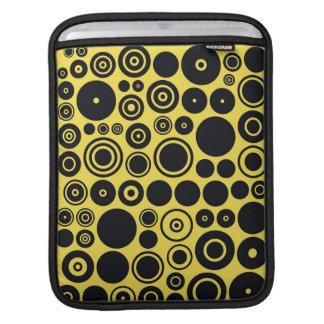 Yellow, Black Retro Circles iPad sleeve