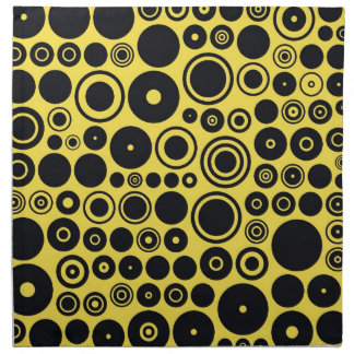 Yellow, Black Retro Circles Napkin