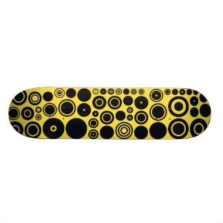 Yellow, Black Retro Circles Pattern Skateboard