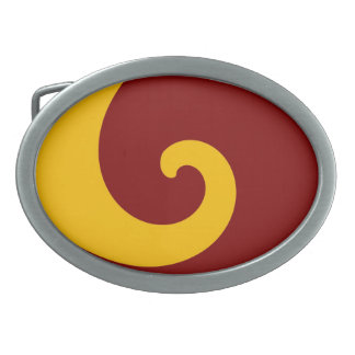 Yellow Black Retro Swirl Paint Abstract Art Belt Buckle