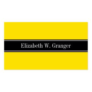 Yellow, Black Ribbon Name Monogram Business Card Templates