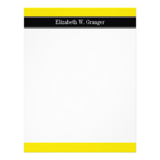 Yellow, Black Ribbon Name Monogram Letterhead