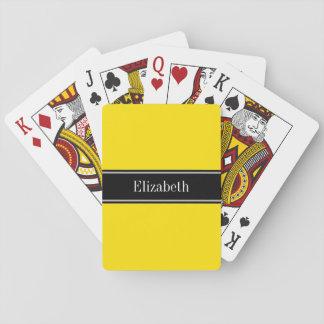 Yellow, Black Ribbon Name Monogram Card Decks