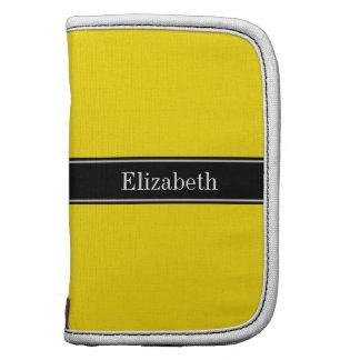 Yellow, Black Ribbon Name Monogram Folio Planner